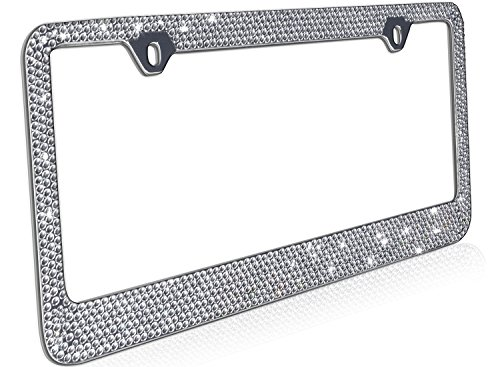 OxGord Rhinestone License Plate Frame Metal Chrome Diamond Bling Glitter Custom 12 Rows of Diamonds, 1pc