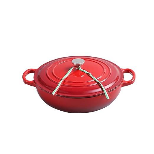 JIANGU Olla de horno holandés Ollas Sartén de hierro fundido ...