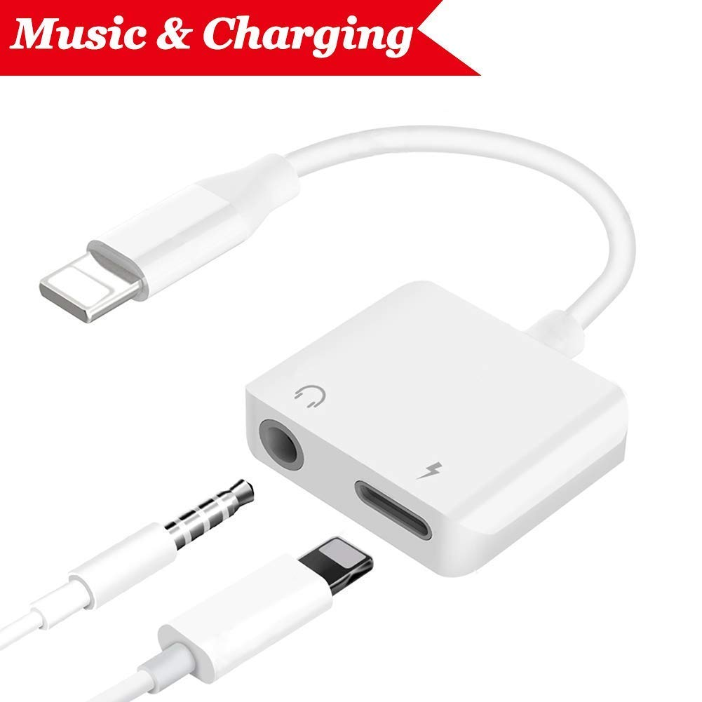Adapter for iPhone Headphones Connector.Earphone Adapter for iPhone 7/7Plus iPhone 8/8Plus iPhone X iPod/iPad Headphone Aux Audio & Charge Adaptor [Audio+Charge+Call+Volume Control ]. Support iOS 12 iNassen