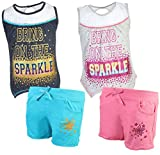 Real Love Girl's 4-Piece French Terry Short Sets, Sparkle, Size 7/8'