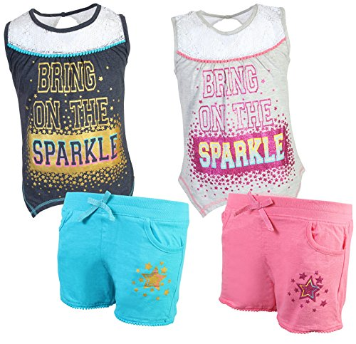 Real Love Girl's 4-Piece French Terry Short Sets, Sparkle, Size 7/8' by Real Love