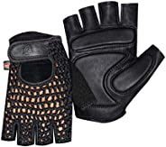 MESH Leather Fingerless Mens Weight Training Gloves Black Cycling Wheelchair Medium Size
