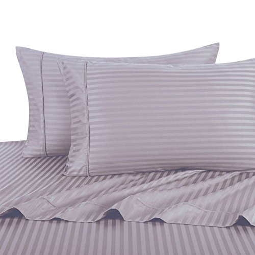 Striped Deluxe and Super Soft 300 Thread Count, 100 Cotton Attached Waterbed Sheet set with Pole Attachment. Fits mattresses up to 15