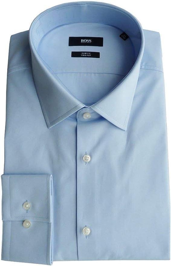 BOSS Hugo Camisa Talla 44 (17.5), Slim Fit, Two Ply, Forma: Jenno, 50281330: Amazon.es: Ropa y accesorios