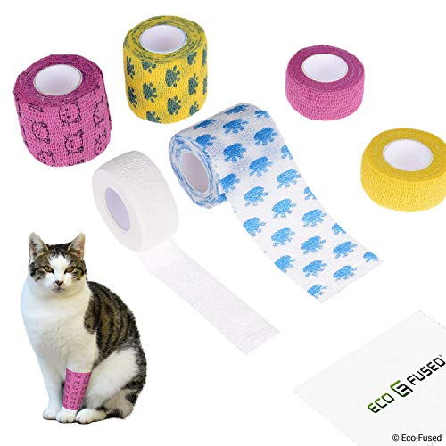 Eco-Fused Self Adhering Bandage - Injury Wrap Tape for Cats - Pack of 6 - Supports Muscles and Joints - Does not Stick to Hair - Elastic, Water Repellent, Breathable - Relieves Stress