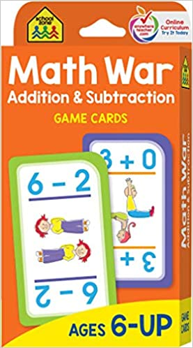 School Zone - Math War Addition and Subtraction Game Cards - Ages 6