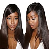 MeiRun 7A Silk Top Full Lace Wigs 180% Density Straight Virgin Hair Pre Plucked Hairline Lace Front Human Hair Wigs For Women Natural Black (16inch)