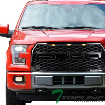 ck Raptor Style Honeycomb Mesh Front Hood Bumper Grill Grille Cover Conversion w/ Amber LED Light Lamp 15-17 Ford F150 ()