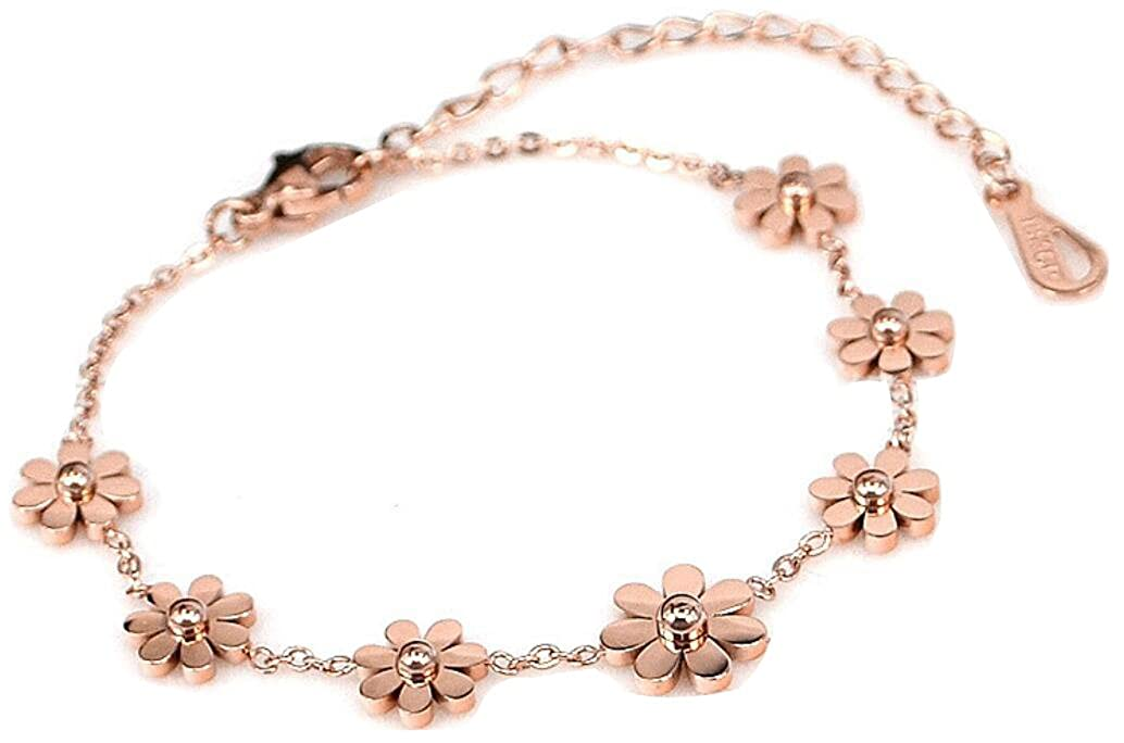 AZYOUNG 316L Stainless Steel High Polished Rose Gold 7pcs Daisies Pendant Anklet, 11 inch OPK 20180528005