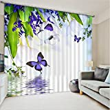 LB 2 Panels Room Darkening Thermal Insulated Blackout Window Curtains,Flower and Butterfly Home Decor Window Treatment 3D Window Drapes for Living Room Bedroom,80 Inch Width by 63 Inch Length