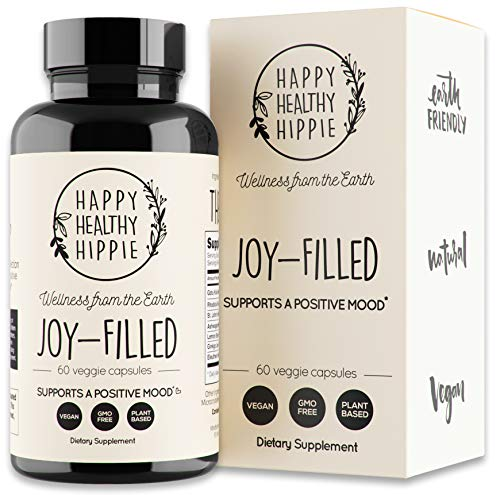 Joy-Filled | 100% Plant-Based Supplement for Anxiety & Depression Relief | Helps Relax The Mind, Boosts Mood, Relieve Stress | Contains 7 Powerful Herbs, Non-GMO, 60 Vegan Capsules (Best Anti Anxiety Medication Over The Counter)