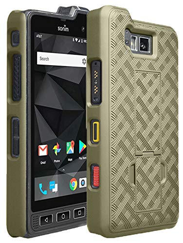 Champagne Ribbed - Sonim XP8 Case, Nakedcellphone [Champagne Gold] Slim Ribbed Rubberized Hard Shell Cover [with Kickstand] for Sonim XP8 Phone (XP8800)