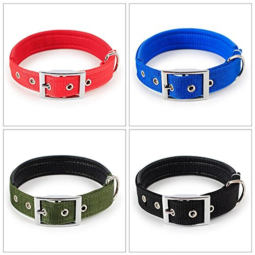Creazrise Adjustable Dog Pure Color Collar for Large Medium Small Pet Dog (S, Blue)