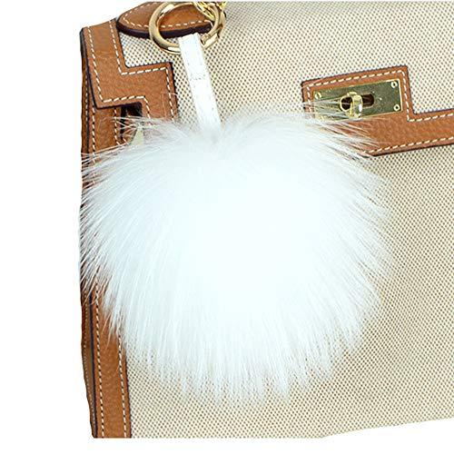 Valpeak 6'' Fluffy Raccoon Fur Ball Pom Pom Keychain Womens Bag Charms Key Chain (White) ()