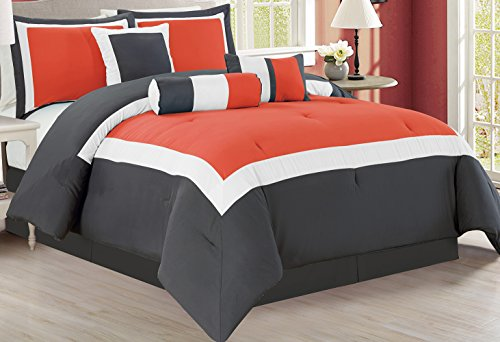 7 Piece Oversize ORANGE / DARK GREY / WHITE Color Block Comforter set 90