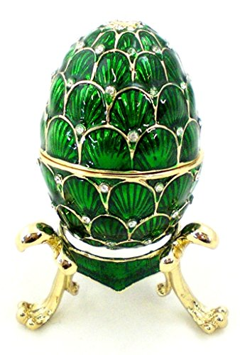 Faberge Style Egg Trinket Box with Stand, Clear Swarovski Crystal, Hand Painted Green Enamel Over Pewter, Inside Of Box with Lovely Enamel, L 1.75 X H 2.50 x W 1.75