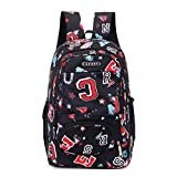 Backpack for Teens Letter Print Comfy Burden Reduction School Bag Double Shoulder Bag (Black)