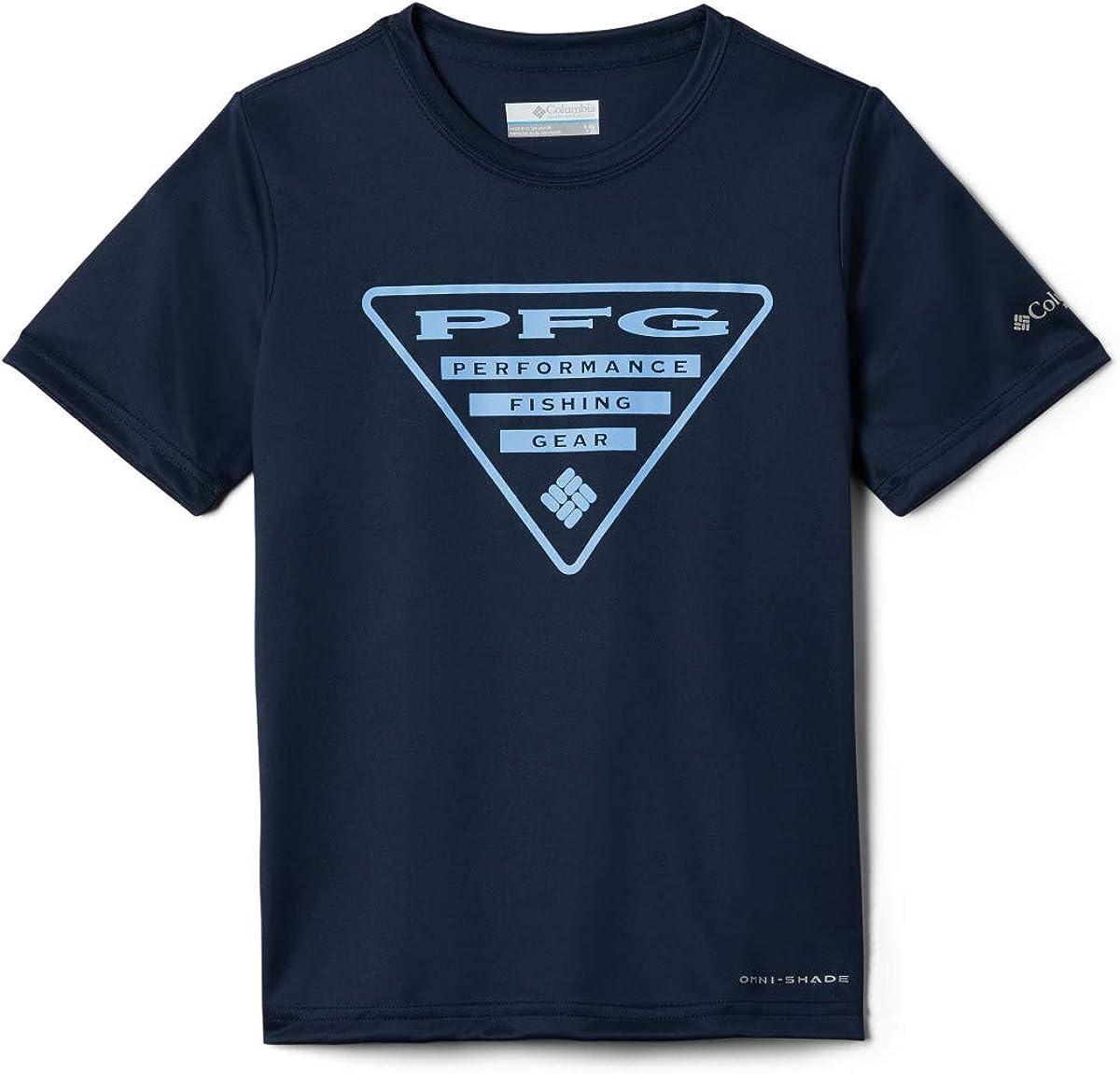 Sun Protection Columbia Boys PFG Printed Logo Graphic Tee Shirt Moisture Wicking