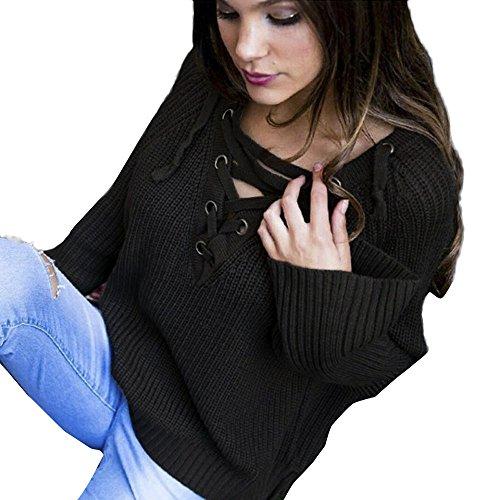 Kinghard Women Knit Long Tops Sweater Knitting V-Neck Loose Casual Pullover (S, Black)