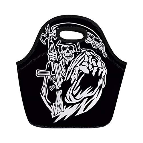 Semtomn Neoprene Lunch Tote Bag Gangster Grim Reaper Gun Ammo Army Bandit Bone Cemetery Reusable Cooler Bags Insulated Thermal Picnic Handbag for Travel,School,Outdoors, Work]()