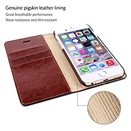 Belemay iPhone 6S Plus / 6 Plus Case, Genuine Cowhide Leather Case Wallet, Flip Wallet Book Cover with [Credit Card Holder] [Kickstand] [Money Pouch] for iPhone 6s Plus & iPhone 6 Plus - Coffee Brown