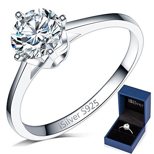 925 Sterling Silver Solitaire - iSilver 925 Sterling Silver Solitaire Ring Classical Simple Engagement Wedding (5)