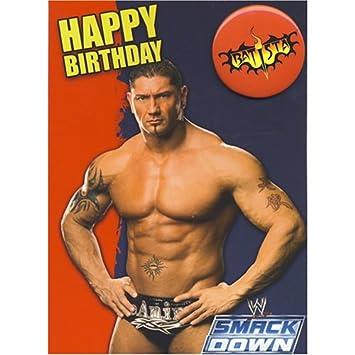 Wwe Wrestling Batista Birthday Card With Badge Amazon Toys