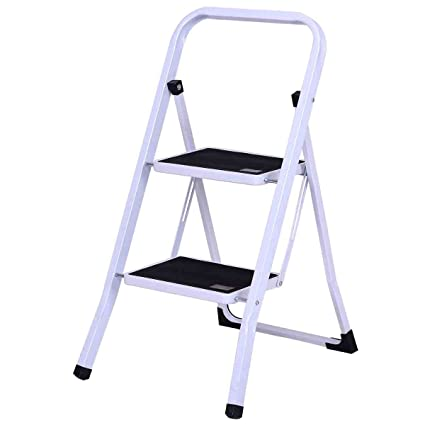 Fine Safeplus Folding Step Stool Aluminum Double Sided Step Ladder With 330 Lbs Capacity For Warehouse Garden Kitchen Office 2 Steps Inzonedesignstudio Interior Chair Design Inzonedesignstudiocom