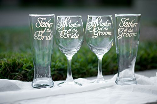 Mother of Bride Wine Glass, Mother of Groom Wine Glass, Father of Bride Beer Glass, Father of Groom Beer Glass, Hand Engraved - Set of 4 - Choose from Wine, Pilsner, Pint or Whisky Glasses
