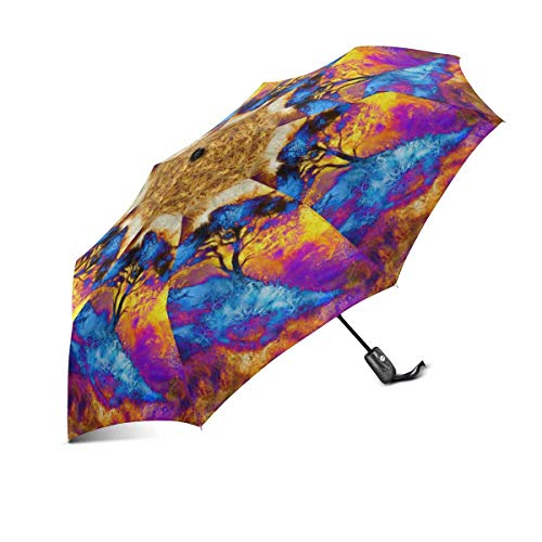 INTERESTPRINT Painting Tree Space Landscape and Ornamental Mandala Windproof Compact One Hand Auto Open and Close Folding Umbrella, Rain & Outdoor Unbreakable Travel Umbrella
