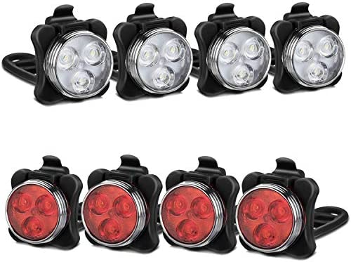 Akale Rechargeable Bike Light Set, LED Bicycle Lights Front and Rear, 4 Light Mode Options, 650mah Lithium Battery, Bike Headlight, IPX4 Waterproof, Easy to Install for Kids Men Women Road 4 Pack