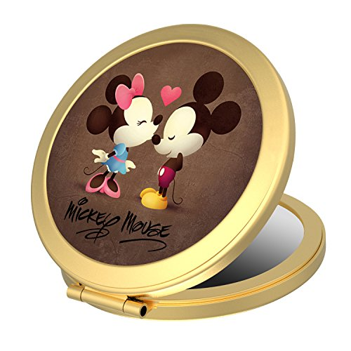 Double Sided Round Compact Mirror, Mickey Mouse Small Makeup Mirror Pocket-size for Purses and Travel, Elegant Handheld Makeup Mirror