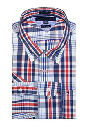 Tommy Hilfiger Men Custom Fit Checkered Shirt (XL, Navy/Red/White)