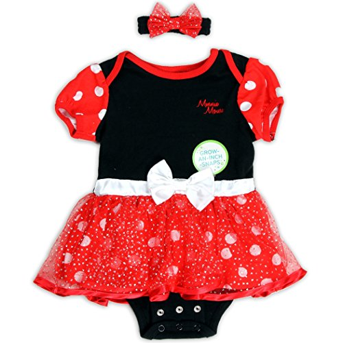 Minnie Mouse Costumes Shirt (MINNIE MOUSE Girls Infant Costume Onesie in Black & Red with Matching Headband (18M))