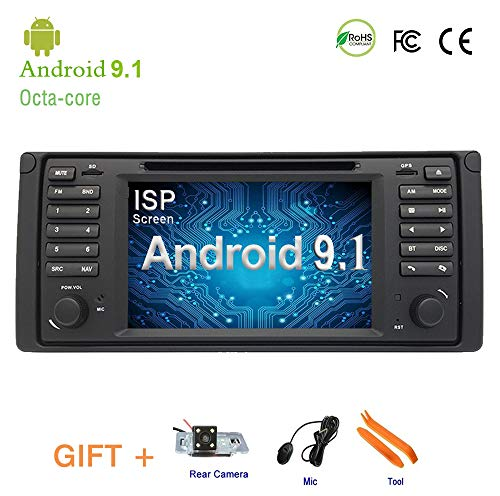 Android 9.0 One DIN,in Dash Car Stereo DVD Player for BMW E38 E39 GPS Stereo Audio Navigation,Bluetooth, DVD/CD/MP3/USB/SD AM/FM Receiver, IPS 7