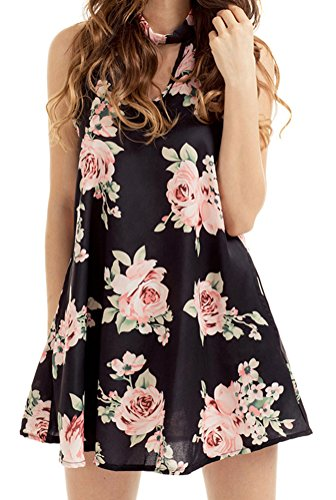 YeeATZ Women Loose Cut out Blooming Floral Print Black Background Dress