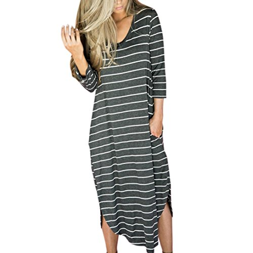 Striped Gown - Han Shi Dresses, Sexy Women Summer Striped Long Gowns Beach Party Casual Boho Skirts (XL, Gray)