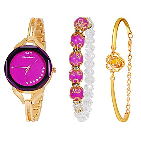 Daimon Women's Wrist Watches with Gold Case and Gold Band (purple) (Purple Gold Watch)