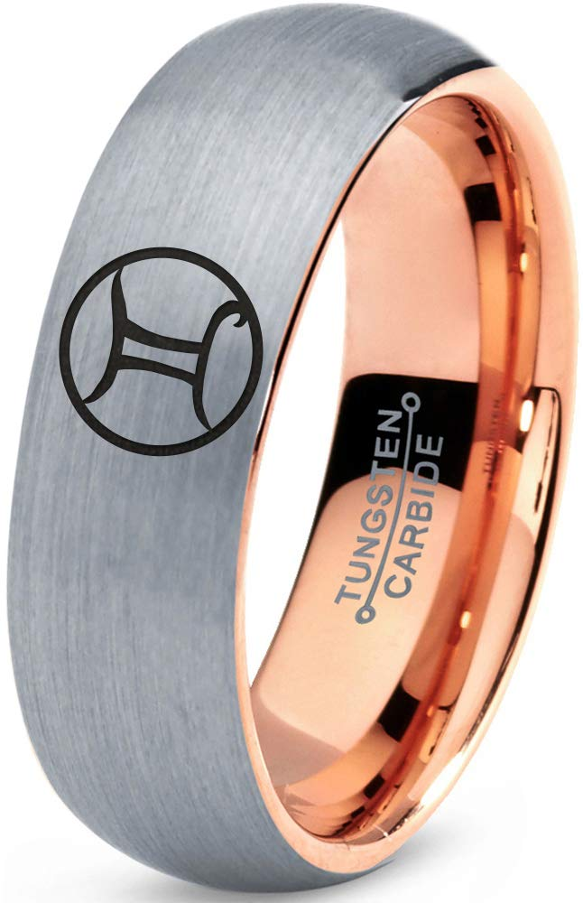 Zealot Jewelry Tungsten Horoscope Gemini Band Ring 7mm Men Women Comfort Fit 18k Rose Gold Dome Brushed Gray Polished Size 7