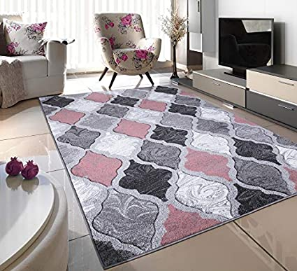 Blush Pink Silver White Grey Trellis Small Medium Xx Large Rug New Modern Soft Thick Carved Carpet Non Shed Runner Bedroom Living Room Area Rug Mat 120 X 170 Cms Amazon Co Uk Kitchen