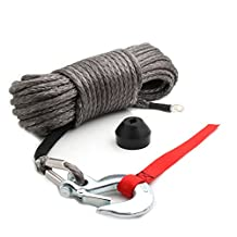 """Synthetic Winch Rope Kit, 50'x1/4"""" w/ Snap Hook and Rubber Stopper for 4x4/Off-road/ATV/Jeep/etc."""