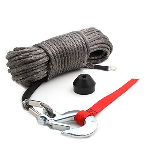 "Offroading Gear 50'x3/16"" Synthetic Winch Rope Kit w/Snap Hook and Rubber Stopper for - Synthetic Atv Winch Rope"
