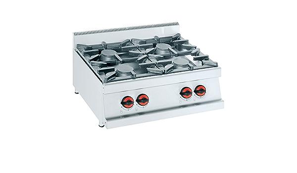 Macfrin S4 Cocina de Sobremesa a Gas 4 Fuegos 26 Kw: Amazon ...
