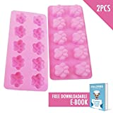 Dog Paws Mold | 2pc Cute Mini Paw-Shaped 10 Cavities Baking Mould Nonstick Foodgrade Soft Silicone Heatproof Dishwasher Safe | For Pet Puppy Dog Treat Cake Candy Ice Cube Pudding Chocolate Jelly | 737
