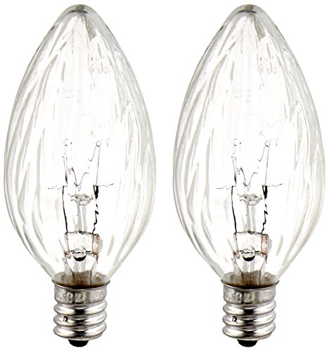 GE Lighting Soft White 48395 15-Watt, 105-Lumen Flame Tip Light Bulb with Candelabra Base, 2-Pack ()
