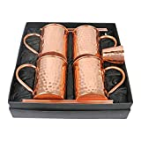 Artigee 4 Piece Moscow Mule Mug Set with Shot Glass & Straws – 100% Pure Copper, 4 Handcrafted Mugs featuring Hammered Finish, 16 oz, Copper Shot Glass, 4 Copper Straws, Includes Premium Gift Box