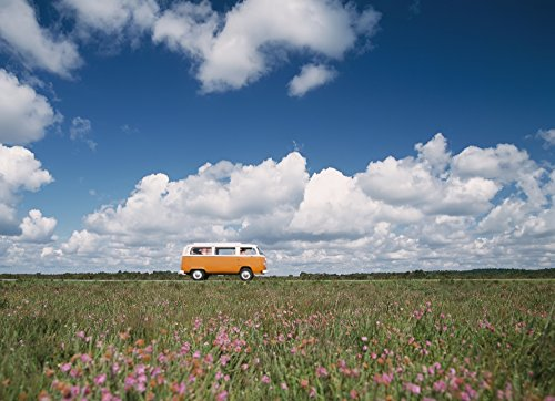 Posterazzi Campervan Going Down Road in Front of Heather in Flower Poster Print, (36 x - Front Heather