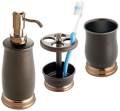 InterDesign Bath Countertop Accessory Set 3 Pieces Toothbrush Holder Tumbler Soap Dispenser Pump Split Bronze