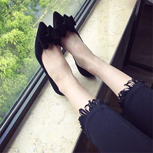 Bowtie Noir Bas JRenok Dames Chaussures Simples Pointu Bout Talons Glisser Femmes Talons Flock Bas Femmes Chaussures sur Sexy Pompes Les Chaussures FpqzB
