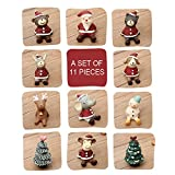 SUPOW Santa Animals Decoration, 11 Pieces Lovely Christmas Wedding Santa Animals Decoration Cute Furnishing Articles Resin Gift Home Decor